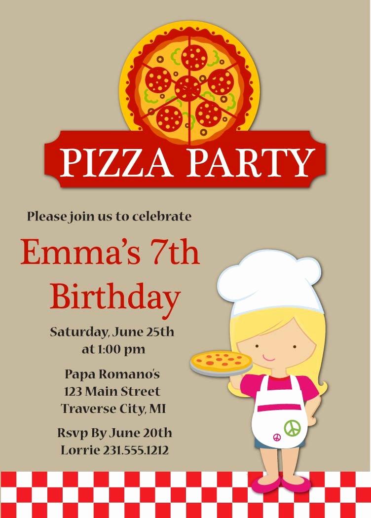 Pizza Party Birthday Invitation Inspirational Pizza Party Birthday Invitation Kids Pizza Party Invitation