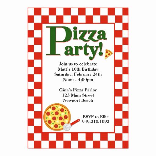 """Pizza Party Birthday Invitation Lovely Pizza Party Birthday Invitation 5"""" X 7"""" Invitation Card"""