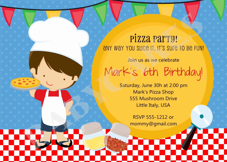 Pizza Party Birthday Invitation Lovely Pizza Party Birthday Invitation Boy Diy Print Your by