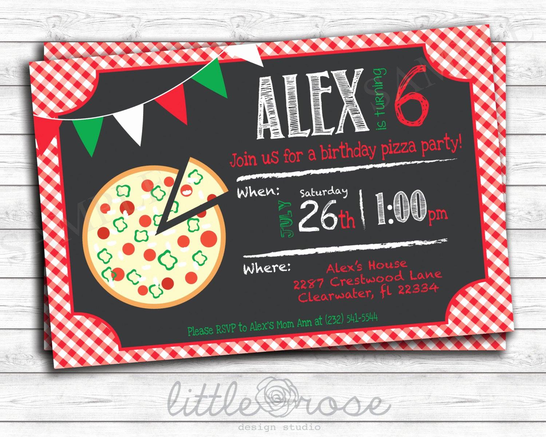 Pizza Party Birthday Invitation Lovely Pizza Party Birthday Party Invitation Kids Birthday Invite