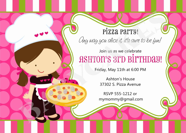 pizza birthday party invitation invite