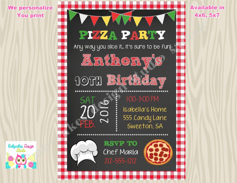 Pizza Party Birthday Invitation New Pizza Party Invitation Invite Pizza Birthday Party Invitation