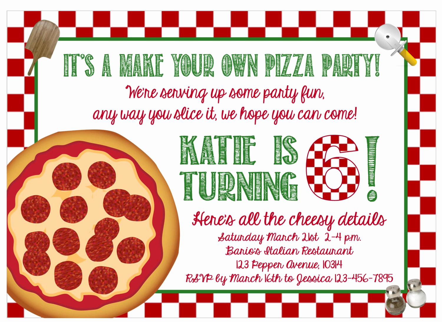 Pizza Party Birthday Invitation Unique Print at Home Make Your Own Pizza Party
