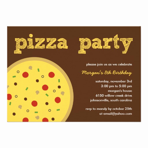 "Pizza Party Invitation Template Elegant Pizza Party Invitation 5"" X 7"" Invitation Card"