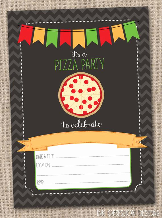 Pizza Party Invitation Template Fresh Instant Download Pizza Party Invitation by Inkobsessiondesigns