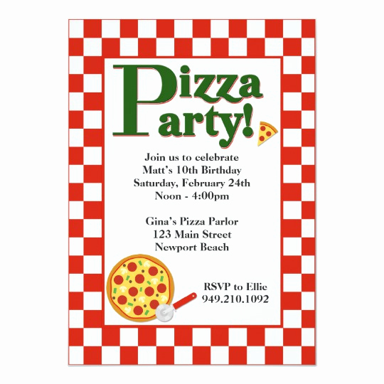 Pizza Party Invitation Template Fresh Pizza Party Birthday Invitation