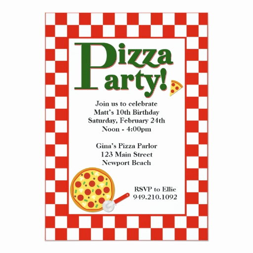 Pizza Party Invitation Template Lovely Pizza Party Birthday Invitation