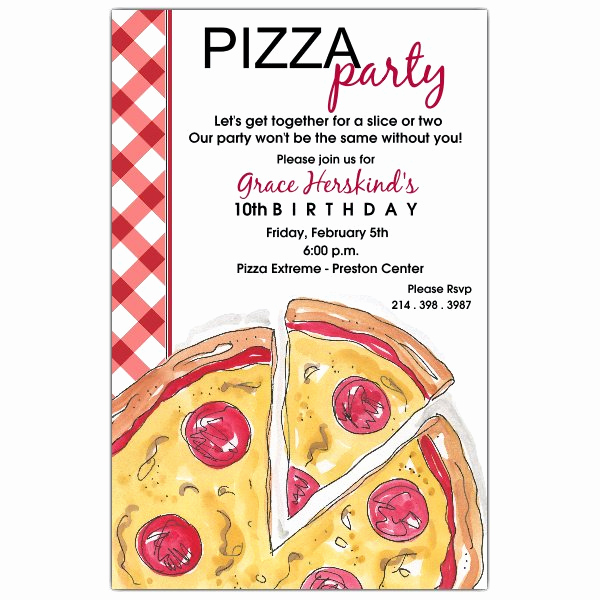 Pizza Party Invitation Template Lovely Pizza Party Birthday Invitations