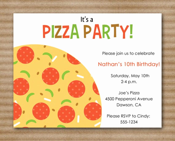 Pizza Party Invitation Template Lovely Pizza Party Invitation Slumber Party by Paperhousedesigns