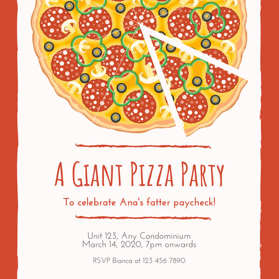 Pizza Party Invitation Template Lovely Pizza Retirement Party Invitation Templates by Canva