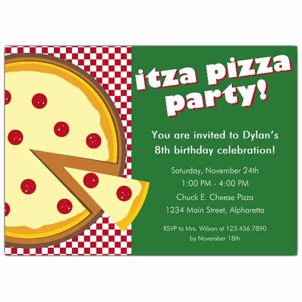 Pizza Party Invitation Template Luxury Itza Pizza Party Invitations