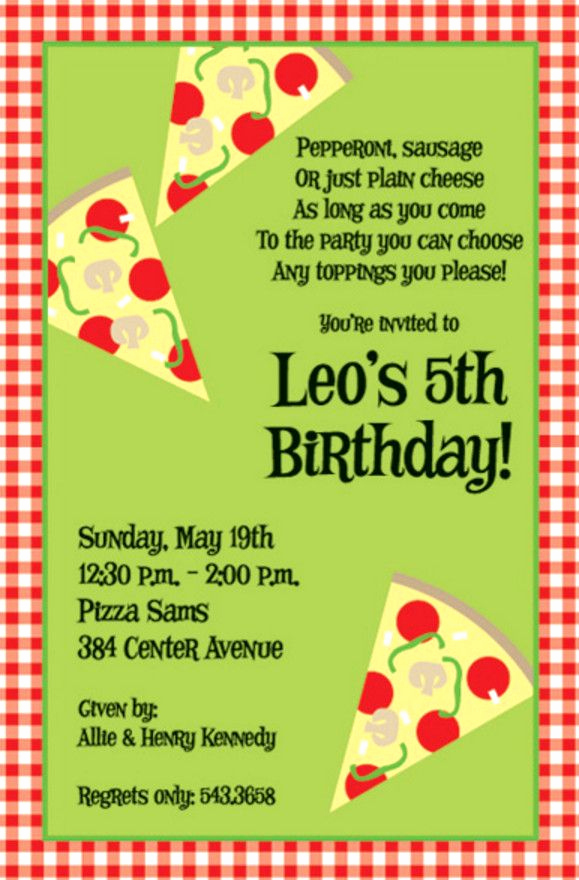 Pizza Party Invitation Template Luxury Pizza Birthday Party Invitation Wording