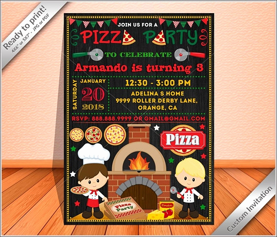 Pizza Party Invitation Template Unique 15 Pizza Party Invitation Designs & Templates Psd Ai