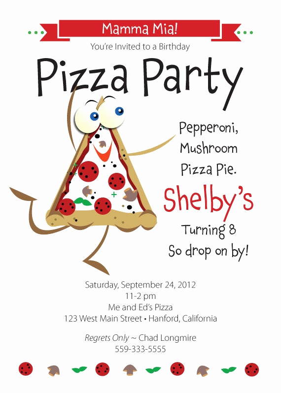 Pizza Party Invitation Template Unique Pizza Birthday Party Invitation for Kids by Tbonesquid On Etsy