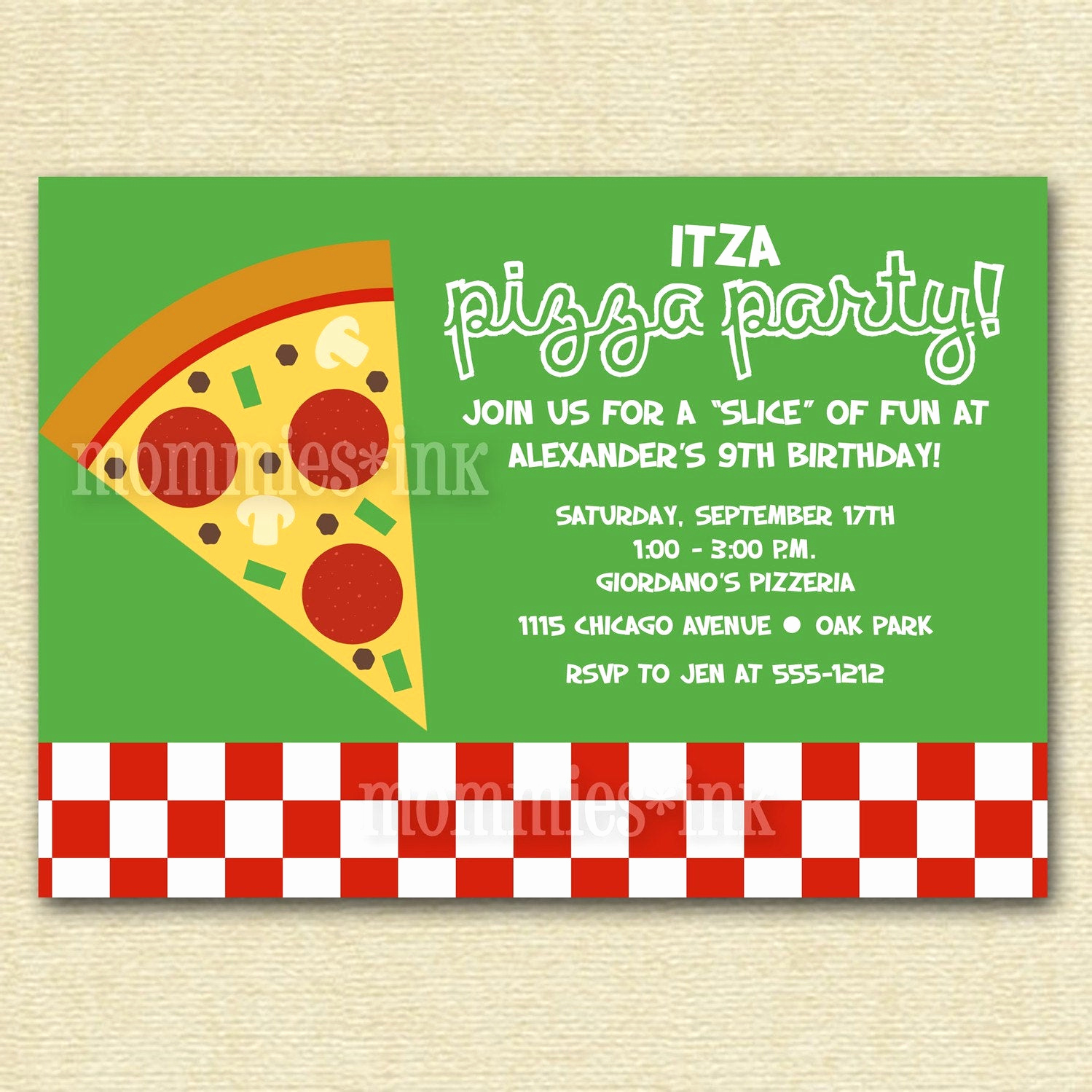 Pizza Party Invitation Templates Beautiful Pizza Party Birthday Invitation Printable by Mommiesink On