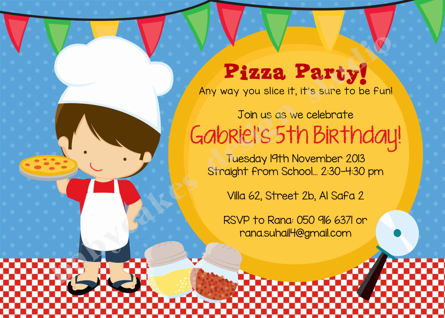 Pizza Party Invitation Templates Inspirational Pizza Party Birthday Invitation Invite Pizza Chef Boy Pizza