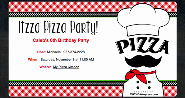 Pizza Party Invitation Templates Lovely Little Chef Pizza Party Evite