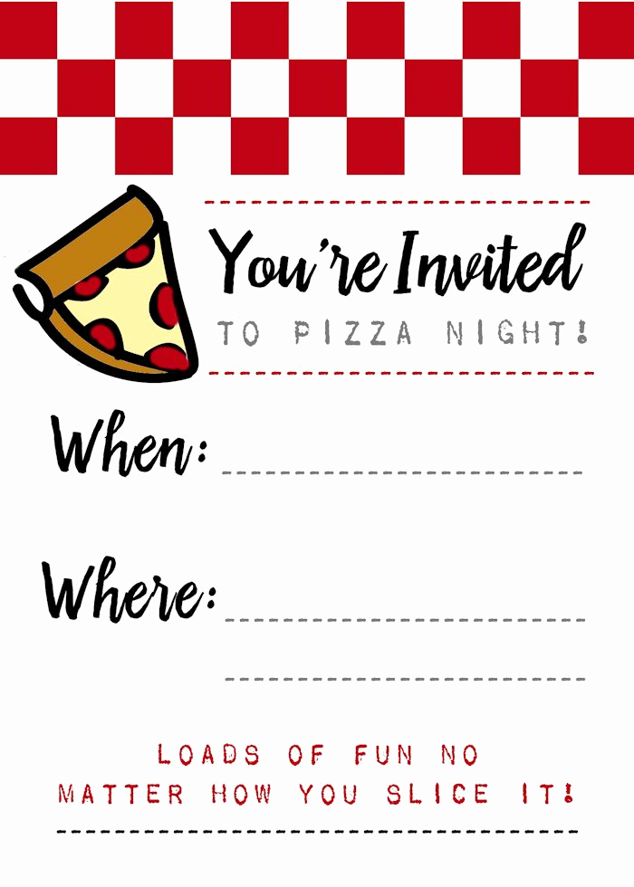 Pizza Party Invitation Templates Lovely Pizza Night Invites