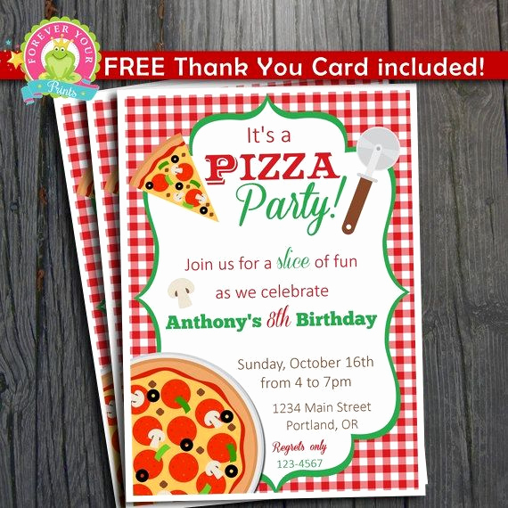Pizza Party Invitation Templates Unique Pizza Party Invitation Free Thank You Card Included