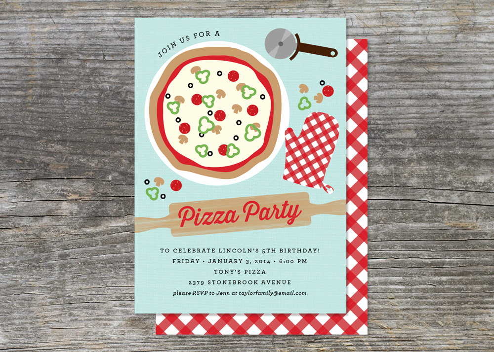 Pizza Party Invitation Wording Awesome Pizza Party Cooking Party Birthday Invitation 15 Cards