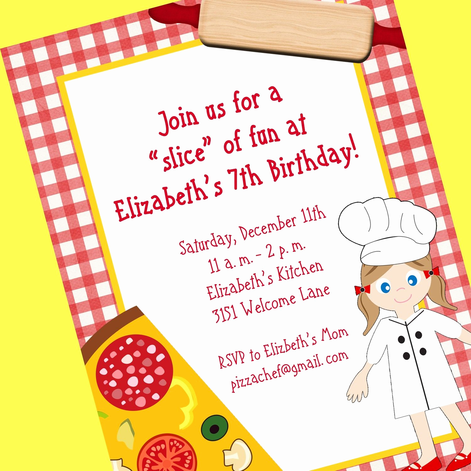 Pizza Party Invitation Wording Best Of Pizza Chef Invitation Printable Invitation Design Custom