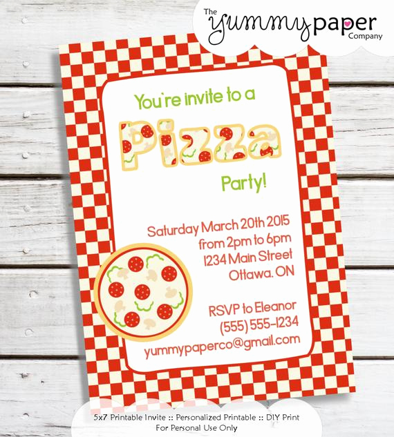Pizza Party Invitation Wording Inspirational Personalized Printable Pizza Party Invitation