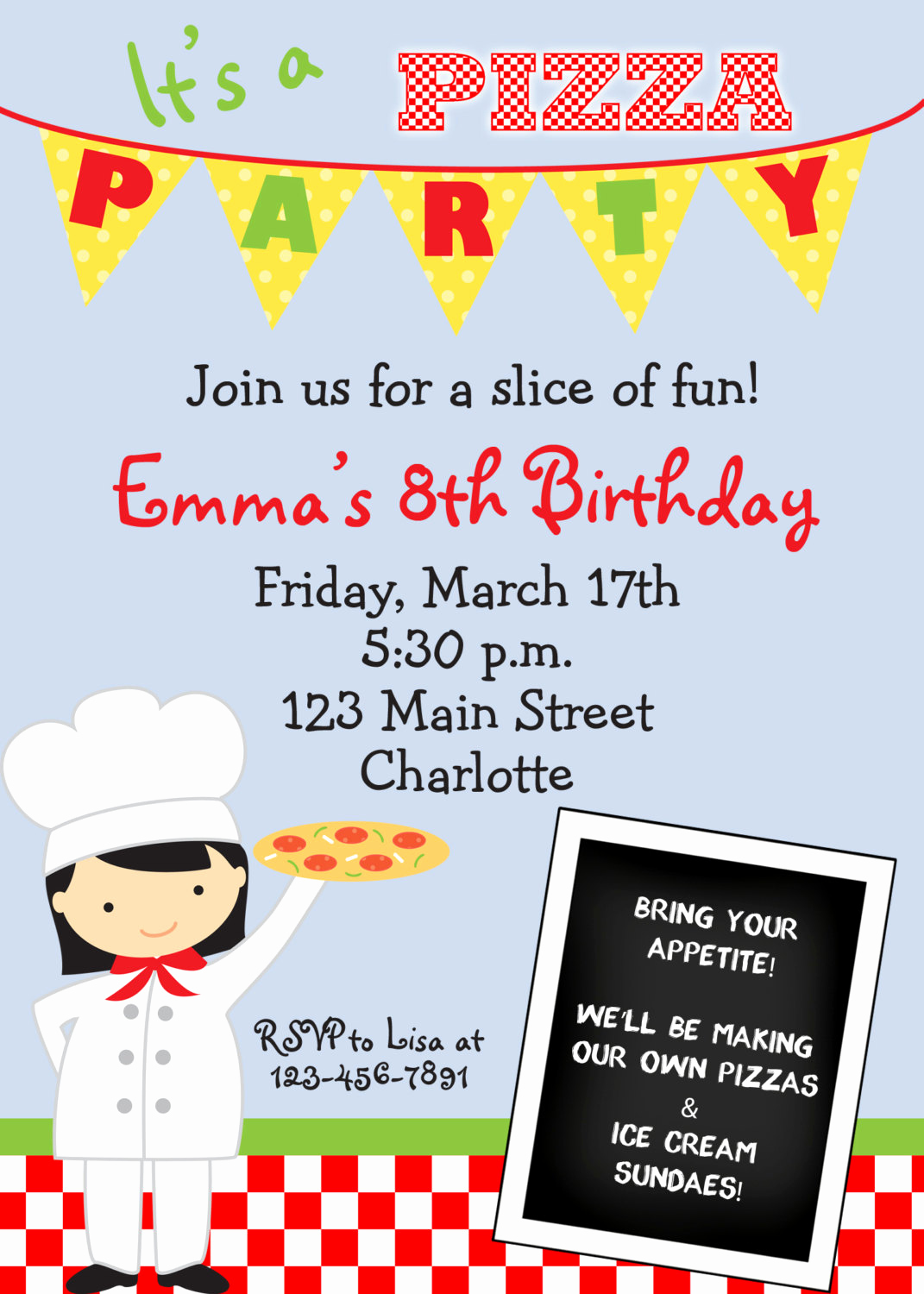 Pizza Party Invitation Wording Inspirational Pizza Party Birthday Invitations