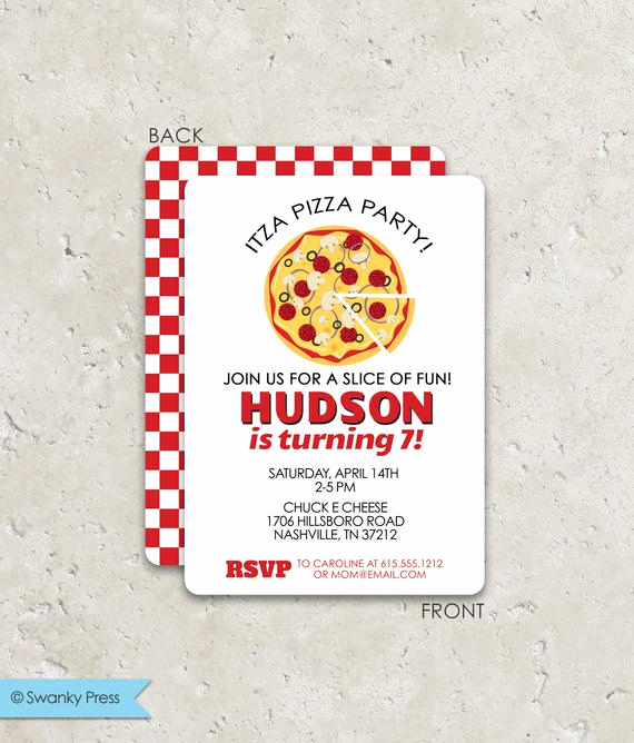 Pizza Party Invitation Wording New Pizza Party Birthday Invitation by Swanky Press
