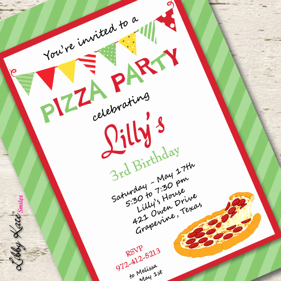 Pizza Party Invitation Wording Unique Pizza Party Invitation Birthday Invitation Pizza Invitation