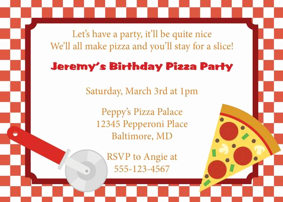Pizza Party Invitation Wording Unique Pizza Party Invitation Invite Diy Printable by Cowprintdesigns