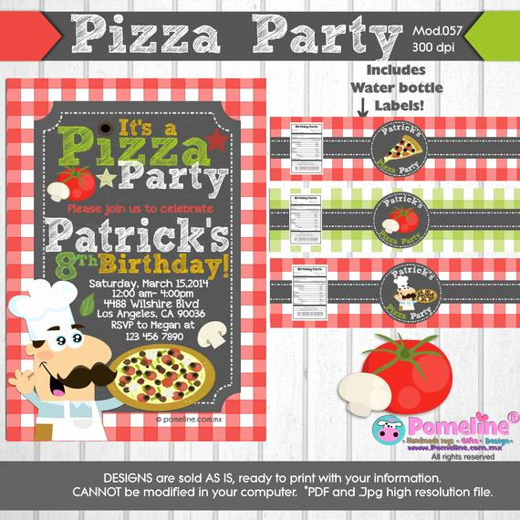 Pizza Party Invitation Wording Unique Printable Duo Invitation and Water Bottle by Pomelinestudio