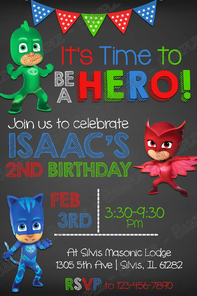 Pj Mask Birthday Invitation Template Awesome Novel Concept Designs Pj Masks Superhero Chalk