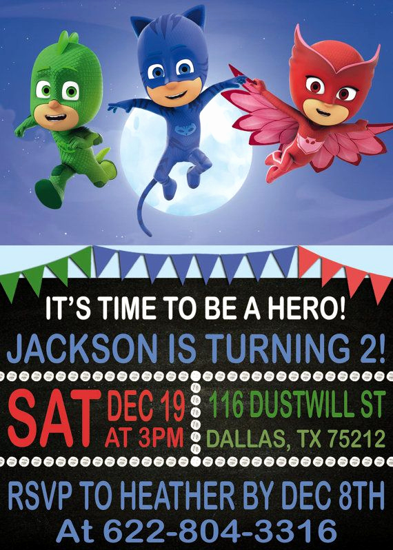 Pj Mask Birthday Invitation Template Awesome Pj Masks Birthday Invitation Pj Masks Birthday by