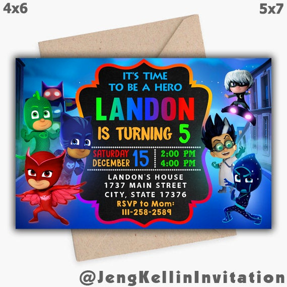 Pj Mask Birthday Invitation Template Awesome Pj Masks Invitation Pj Masks Birthday Invitation Pj Masks