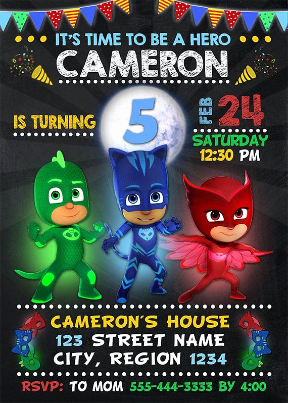 Pj Mask Birthday Invitation Template Awesome Pj Masks Invitation Pj Masks Birthday Invitation Pj