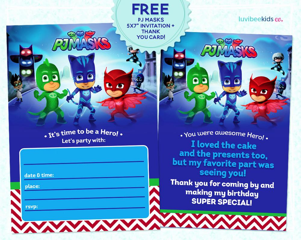 Pj Mask Birthday Invitation Template Best Of Pj Masks Invitation Printable Free