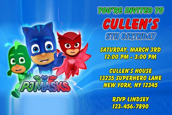 Pj Mask Birthday Invitation Template Fresh Pj Masks Invitations Catboy Owlette