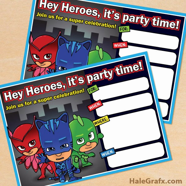 Pj Mask Birthday Invitation Template Fresh Pj Masks Party Printables for Free