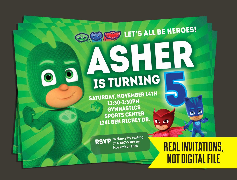 Pj Mask Birthday Invitation Template Inspirational Pj Masks Invitation Pj Masks Birthday Invitation Gecko