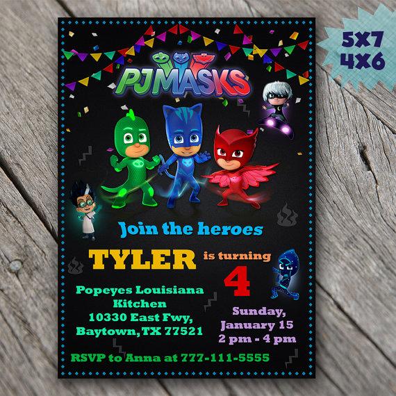 Pj Mask Birthday Invitation Template Lovely Pj Masks Invitation Pj Masks Birthday Invitation Pj Masks