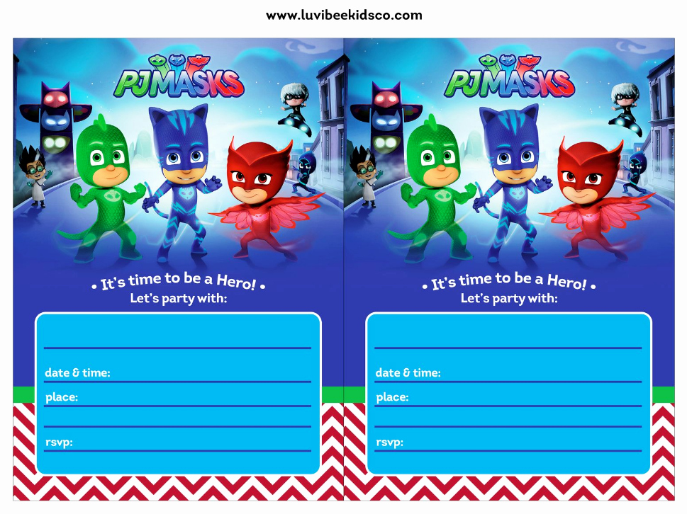 Pj Mask Birthday Invitation Template Unique Pin by Crafty Annabelle On Pj Masks Printables