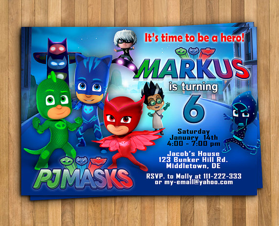 Pj Mask Invitation Free Beautiful Pj Masks Invitation Pj Masks Birthday Invitation Pj Masks