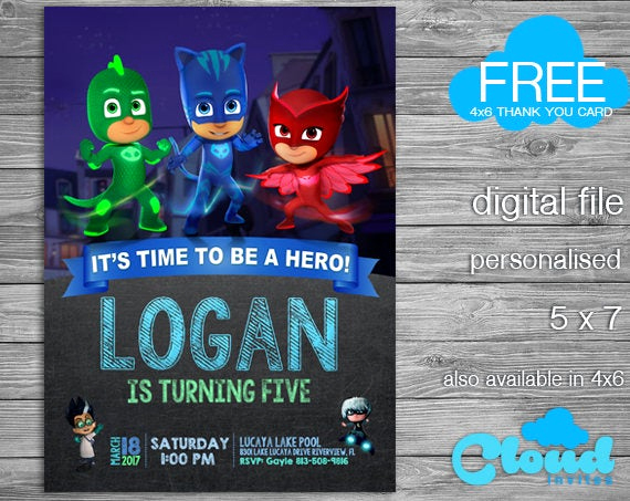 Pj Mask Invitation Free Beautiful Pj Masks Pj Mask Invitation Pj Mask Birthday Invitation Pj