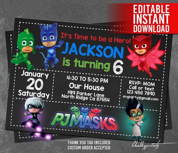 Pj Mask Invitation Free Best Of Pj Masks Invitation Instant Download Pj Masks Invitation