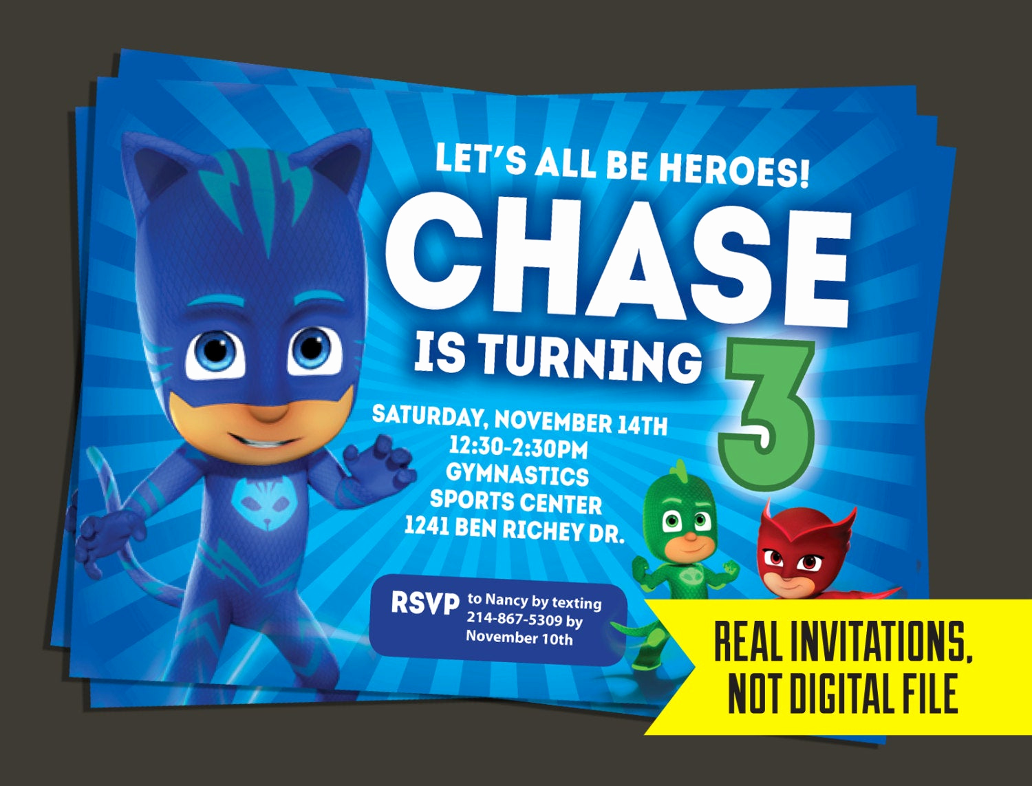 Pj Mask Invitation Free Best Of Pj Masks Invitation Pj Masks Birthday Invitation Catboy