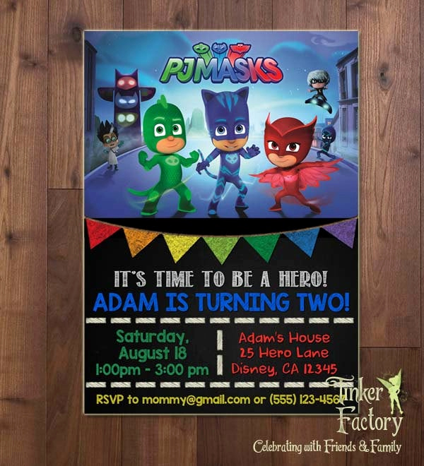 Pj Mask Invitation Free Elegant Pj Masks Birthday Party Invitation Digital File Printable