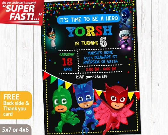 Pj Mask Invitation Free Elegant Pj Masks Invitation Printable Pj Masks Birthday Invitation