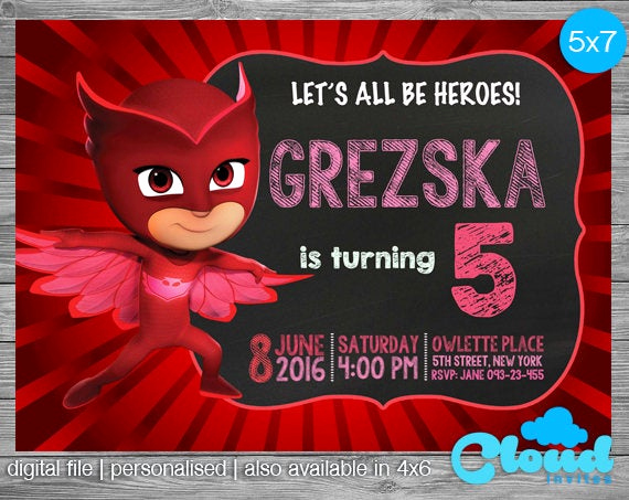 Pj Mask Invitation Free Fresh Owlette Invitation Owlette Pj Masks Invites Pj Masks