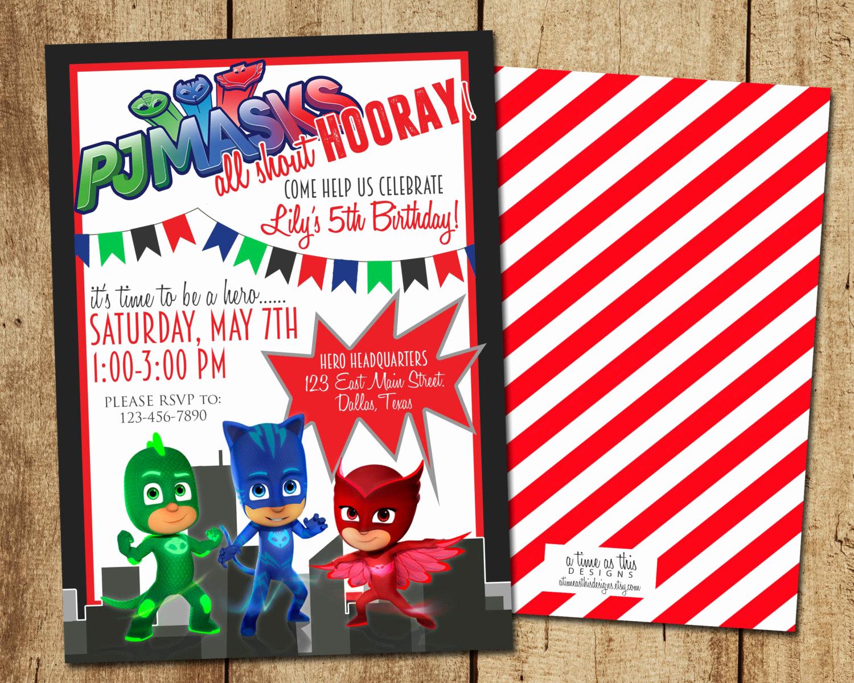 Pj Mask Invitation Free Lovely Pj Masks Birthday Invitation Digital Printable Pj Masks