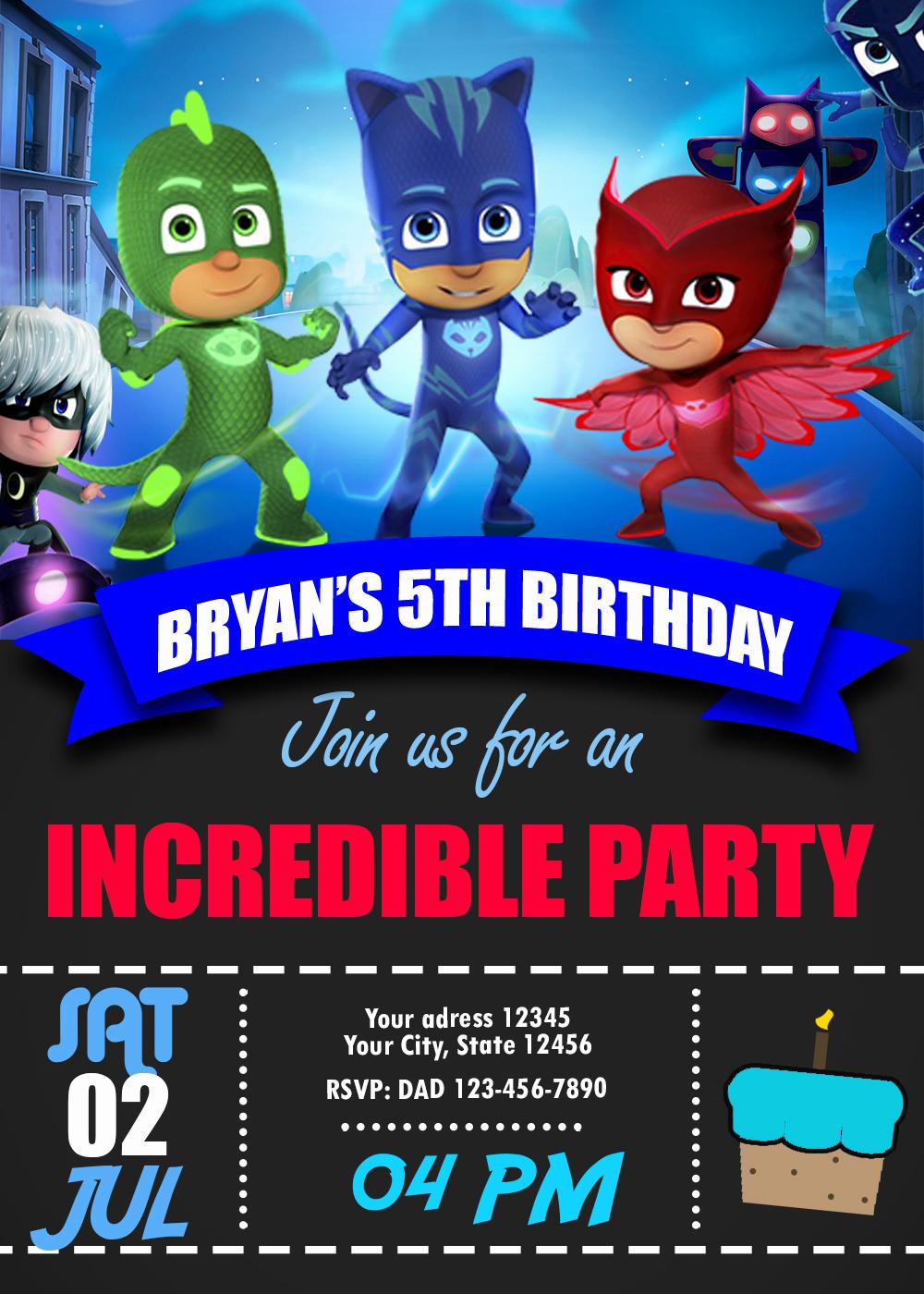 Pj Mask Invitation Free Luxury Blue Catboy Pj Masks Birthday Invitation Oscarsitosroom
